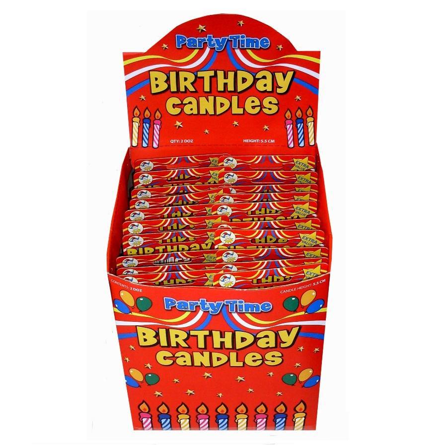 24 X Birthday Cake Candles 12 Holders